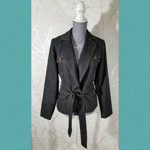 Ellen Tracy Black Chambray Belted Tie Front Blazer